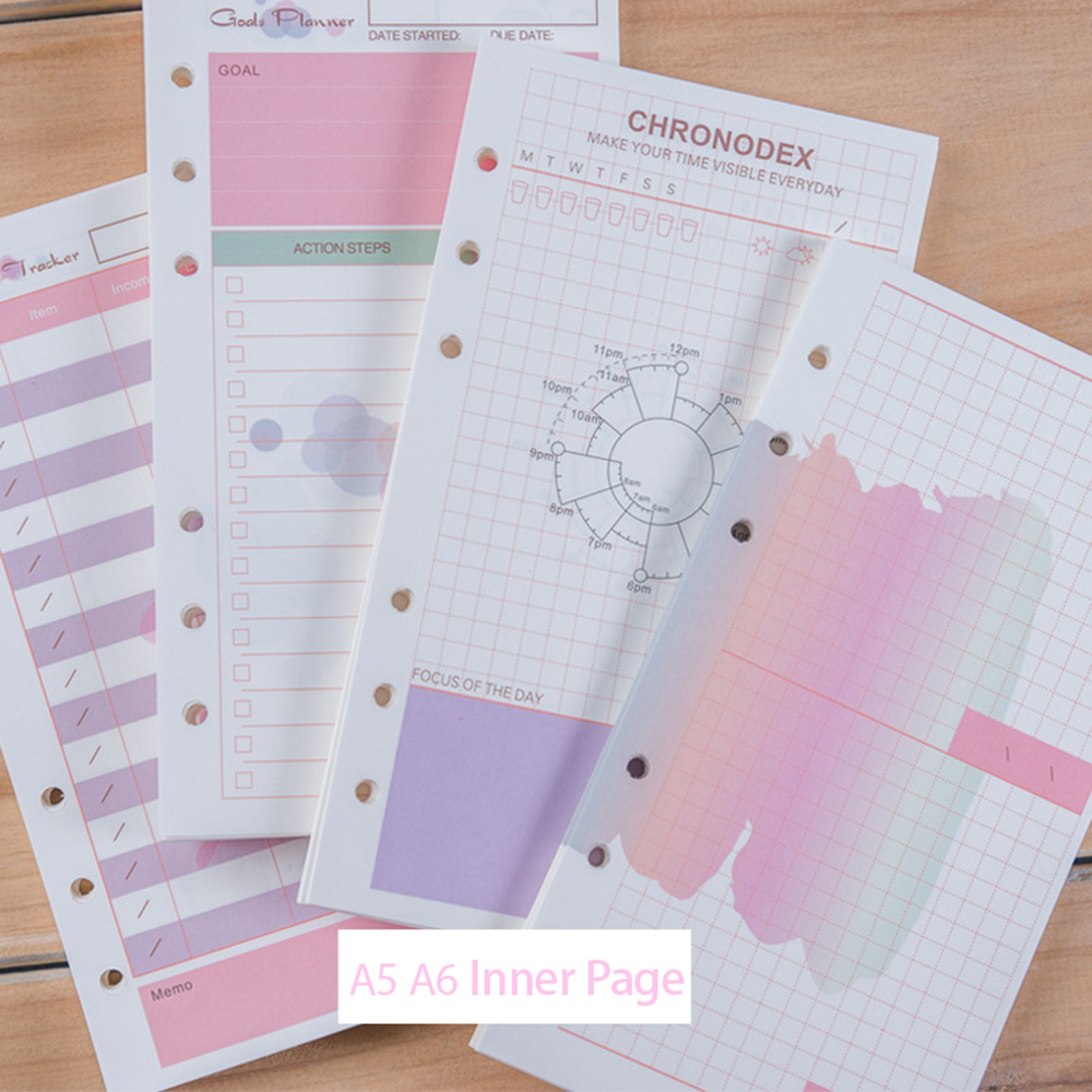 50sheets A5/A6 Color Paper Notebook Refills 6 Hole Loose Leaf Handbook Inner Pages DIY Planner School Office Supply