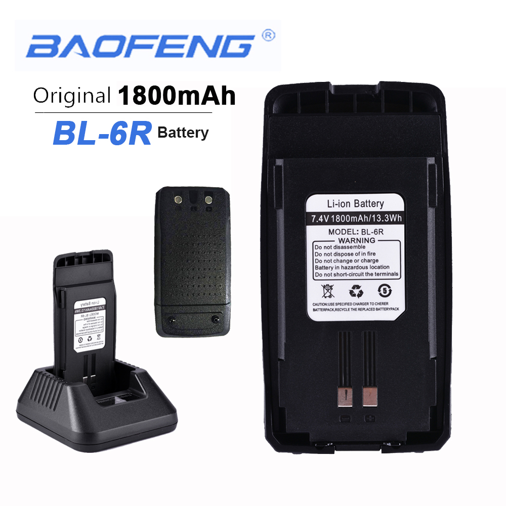 New Original Baofeng UV6R Walkie Talkie Battery 7.4V 1800mAH 13.3Wh BL-6R UV-6R Boafeng Headset Anytone Clip Baofeng Hands Free