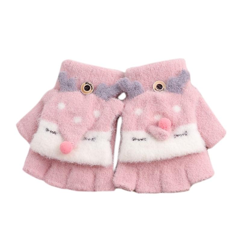 Зимние теплые детские перчатки с открытыми пальцами, детские вязаные перчатки с рисунком лося для мальчиков и девочек, перчатки с откидной крышкой, митенки Детские От 4 до 8 лет - Цвет: Pink