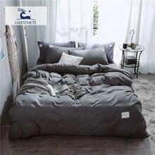 Liv-Esthete Luxury Dark Gray Bedding Set Soft Printed Duvet Cover Flat Sheet Double Queen King Bed Linen As Gift