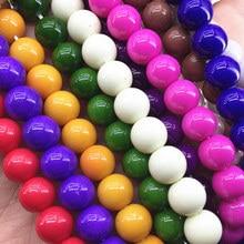 Perles rondes en verre de peinture multicolore, 11 couleurs, entretoises de 4mm 6mm 8mm 10mm 12mm 14mm, résultats de bijoux pour femmes de 15 pouces B1621
