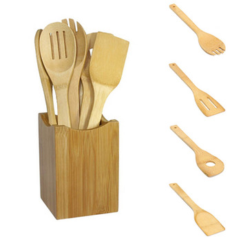 Wooden Kitchen Utensils and Heat Resistant Cooking Spatula Set for Non Stick Pan