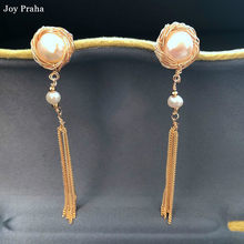 Baroque pearl tassel ear jewelry / Original design long earrings / wholesale dropshipping(China)