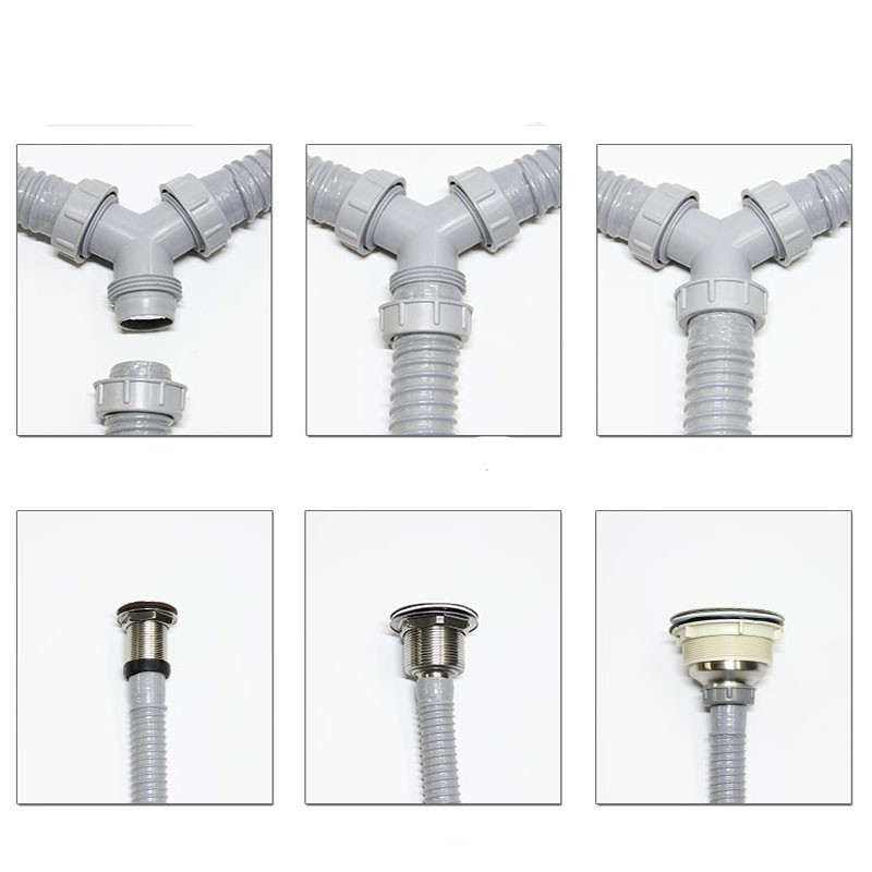 Double Sink Three Way Drain Hose Y Type Sewer Drain Hose For Washing Machine Kitchen Sink Tee Silicone Pipe Bathroom Accessories Aliexpress