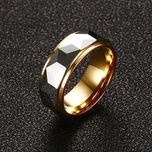 Modyle 100% Tungsten Carbide Multi-Faceted Prism Ring for Men Wedding Band 8MM Cool Men Punk Vintage Ring Fashion Jewelry