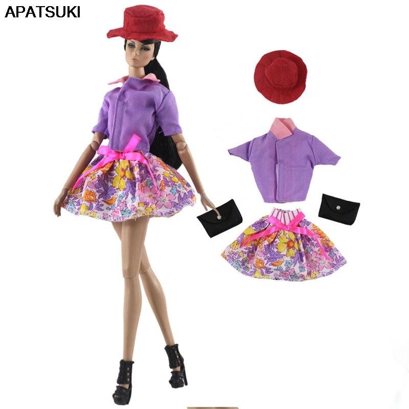 Красочная Модная Одежда для кукол набор для куклы Барби наряды шляпа рубашка юбка Сумочка 1/6 Куклы Аксессуары для Барби кукольный домик|Куклы|   | АлиЭкспресс