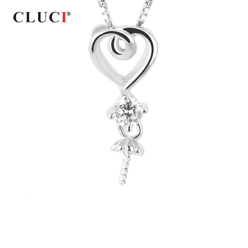 12.3*6.76 mm Heart 925 sterling silver pearl pendant fittings