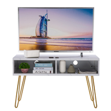 【US Warehouse】Marble Iron Foot TV Cabinet [106x50x62.5cm] White