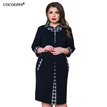 5XL 6XL Autumn Plus Size Plaid Dress 2019 Winter Casual Women Large Work Lady Office 4XL Big Bodycon Party