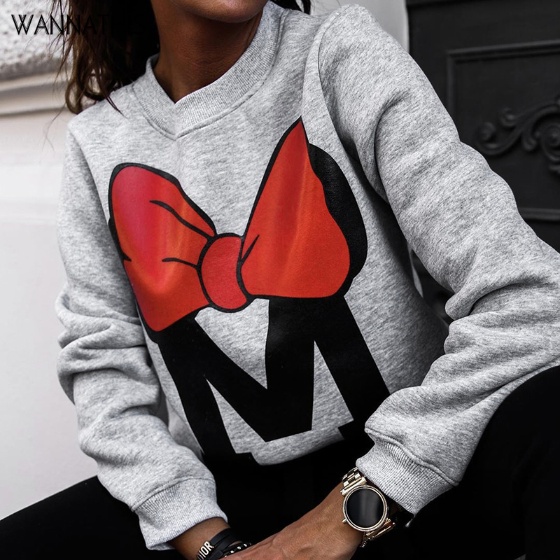 WannaThis Autumn Winter Long Sleeve Gray Sweatshirts Women 2019 Mickey Letter Print O-Neck Casual Loose Solid Hoodies Streetwear