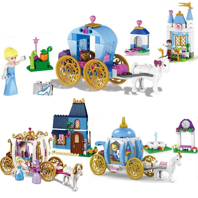 Girls Building Blocks 37002 Duploe Princess Cinderella Pumpkin Carriage Set Toys Compatible Legoinglys Friends 41053 41146