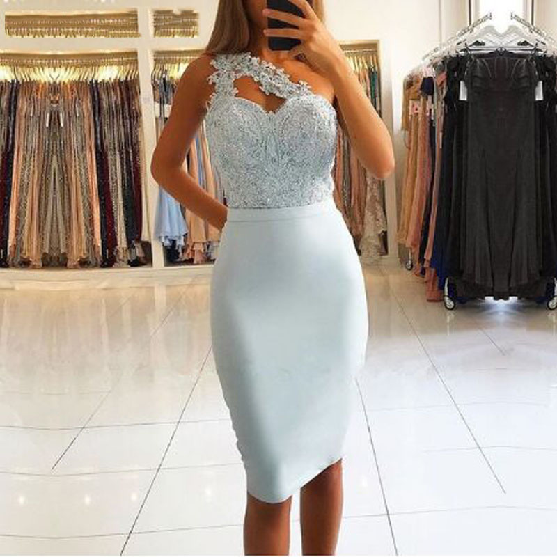 Light Sky Blue Appliques Lace Straight Cocktail Dresses SImple Sleeveless One-Shoulder Sweetheart Neck Party Gown платье коктель