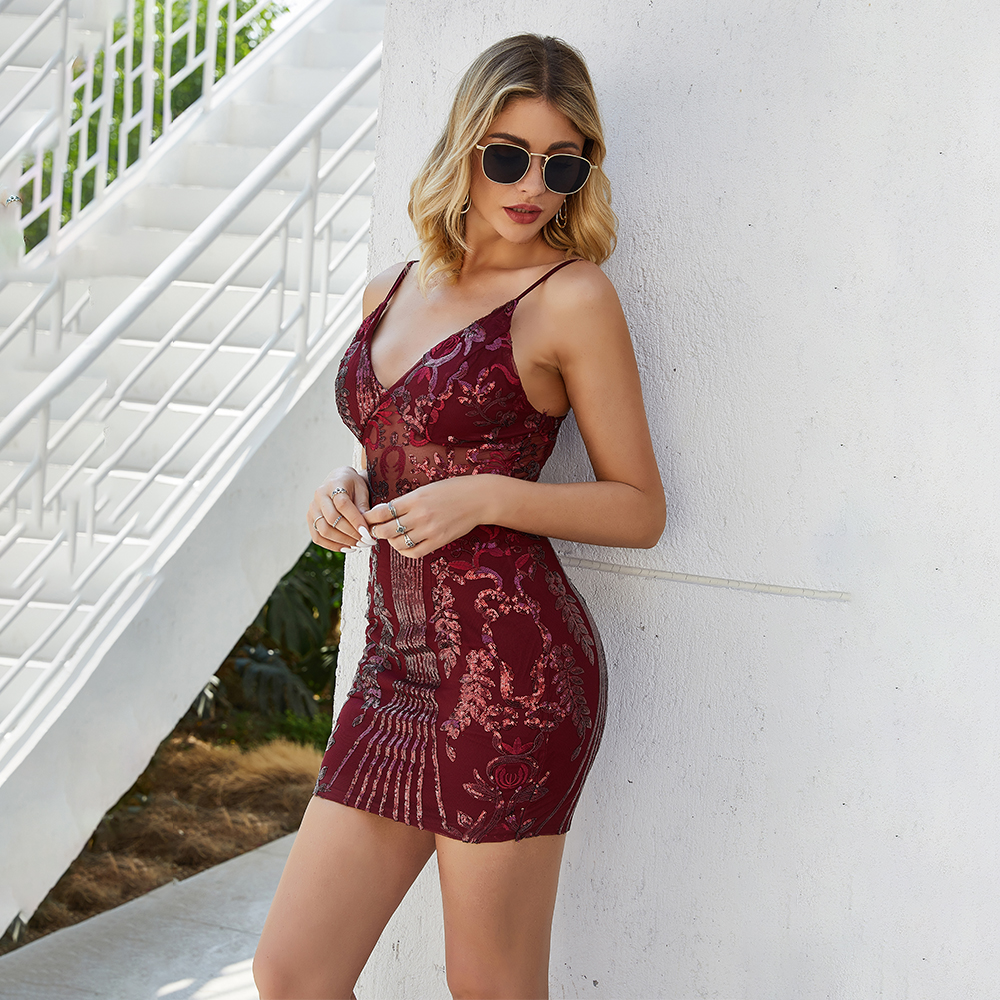 Elegant V Neck Gold Wine Red Bandage Sequin Dress