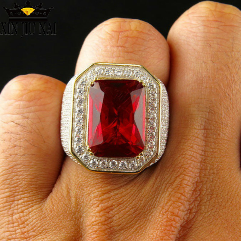 Mens Ruby Ring Gold Color Classic Male Vintage Men 925S Ring Red Stone CZ Dubai Luxury Rings Party Fashion gemstone Jewelry