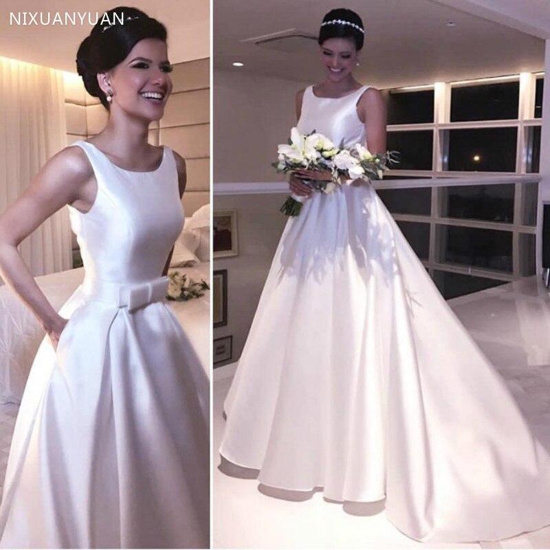 Wedding Dresses 2020 A Line Vestido De Noiva Sleeveless Charming Bridal Dress Long Satin Vestido De Casamento