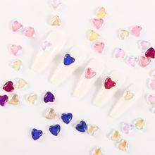10 sztuk partia szkło brzoskwiniowe serce płaskie diamentowe ozdoby DIY w kształcie serca biżuteria zdobienia paznokci 3D Nail Art dżetów tanie tanio Jedna jednostka CN (pochodzenie) ATMC9C69 Rhinestone i dekoracje 10 PCS small