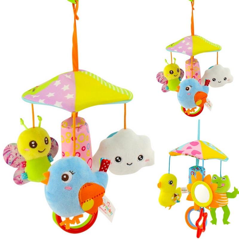 CYSINCOS Rotating Plush Cartoon Cute Kid Hand-eye Coordination Appease Toys Baby Stroller Crib Pram Bed Hanging Toy Accessories