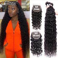Пряди с застежкой 5x5 HD, Прозрачная Кружевная передняя застежка с пряди, перуанские волосы Lemoda Remy, волнистые накладные волосы