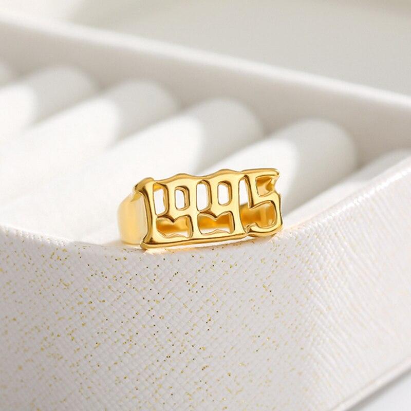 Old English Font Ring 1993 1994 1995 1996 1997 1998 1999 numer rok pierścienie dla mężczyzn niestandardowe złote pierścień kobiety Anillo Hombre biżuteria