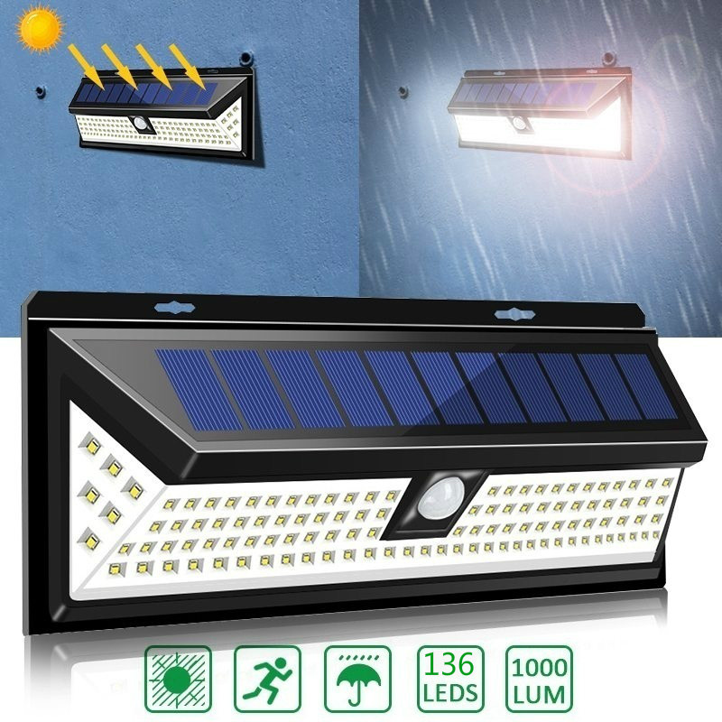 136LED Super Bright Solar Motion Detector Security Wall Lights Exterior Wall Lamps Solar Powered Security Lights