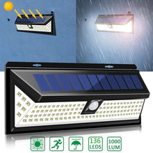 Al aire libre 136LED colector Solar luces de Sensor de movimiento de seguridad, Detector de luz de la noche de IP65 impermeable de jardín iluminación para valla cubierta Patio