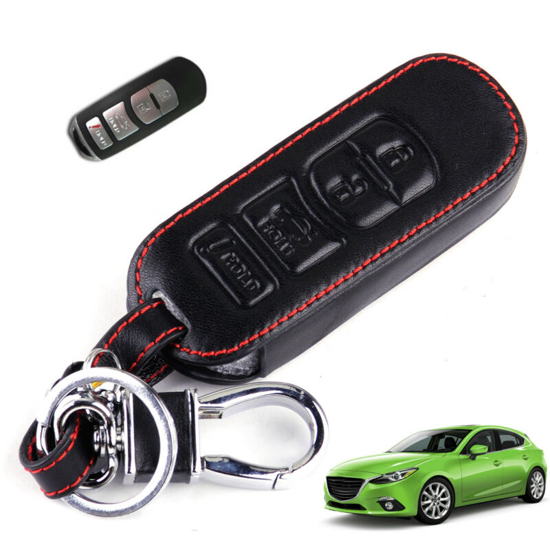 4 Buttons Remote Smart Key Case Cover Holder Leather For Mazda 3 6 CX5 CX7 MX-5 Miata Car Key Case Styling Accessories image