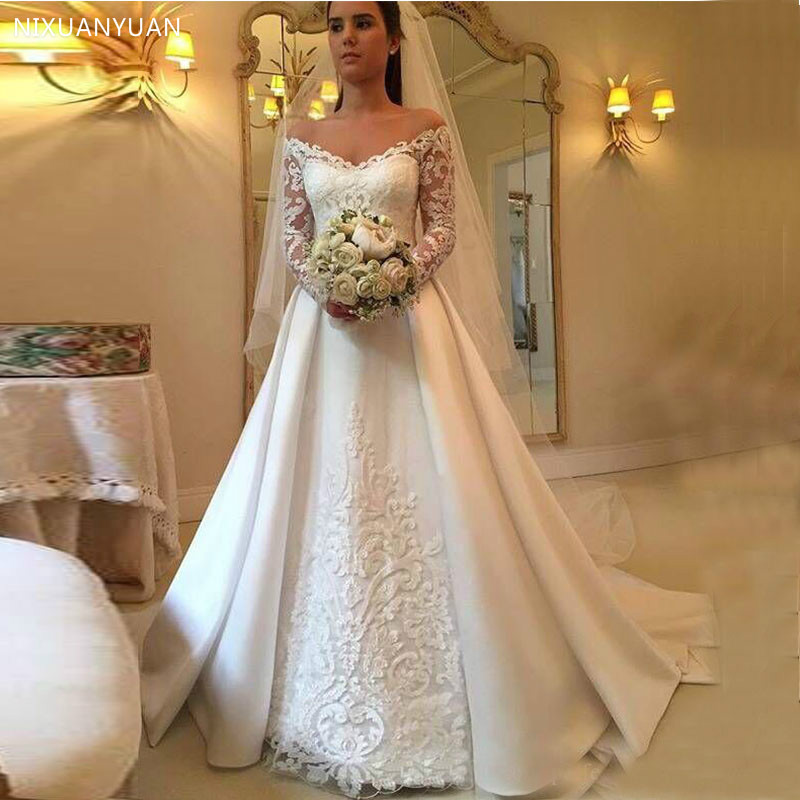 Vintage Wedding Dress Off The Shoulder Illusion Lace Long Sleeves White Ivory Covered Button Back Formal Wedding Gowns 2020