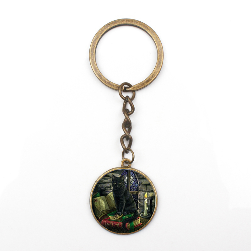New Personality Black Cat Dark Pattern Crystal Pendant Keychain Fashion Man Woman Keyring Bag Car Key Chain Glass Gift Souvenir in Key Chains from Jewelry Accessories