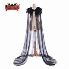 Rainha má cosplay maléfica manto Cape steampunk Gótico Pena collar Manto Traje da bruxa de halloween cosplay manto(China)