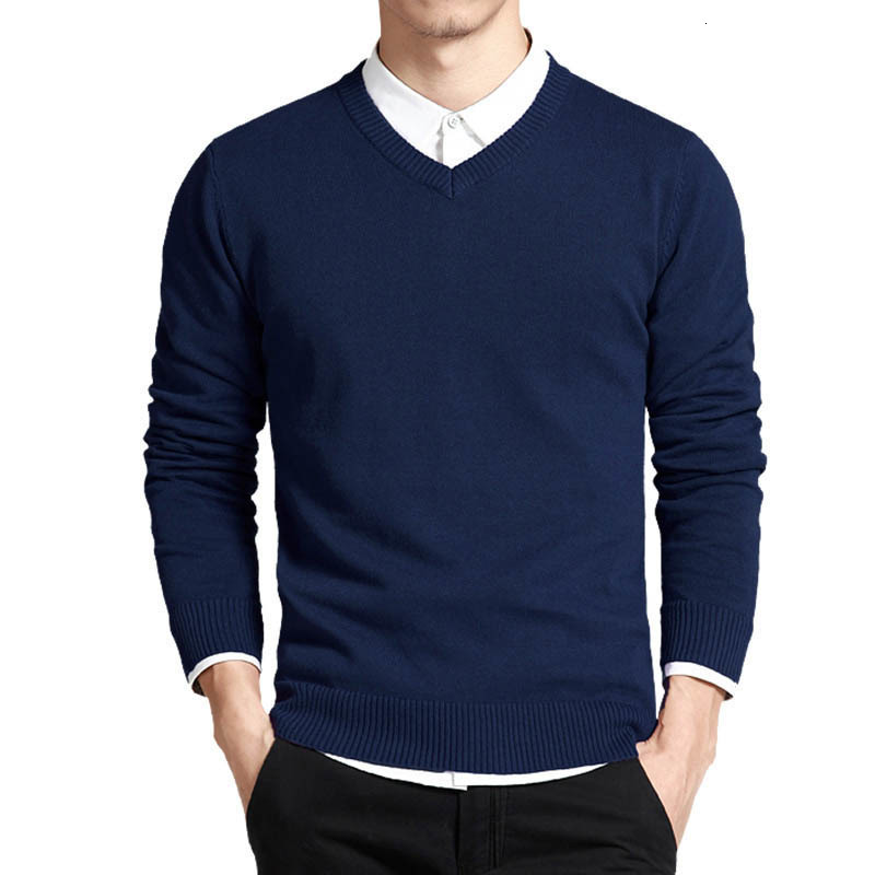 3XL Cotton Sweater Men Long Sleeve Cotton Pullovers Outwear Man V-Neck Sweaters Tops Loose Solid Fit Knitting Clothing 8Colors