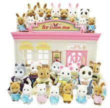 Sylvanian Family, lot de figurines à fourrure lapin, ours, chien, écureuil, maison de poupée,