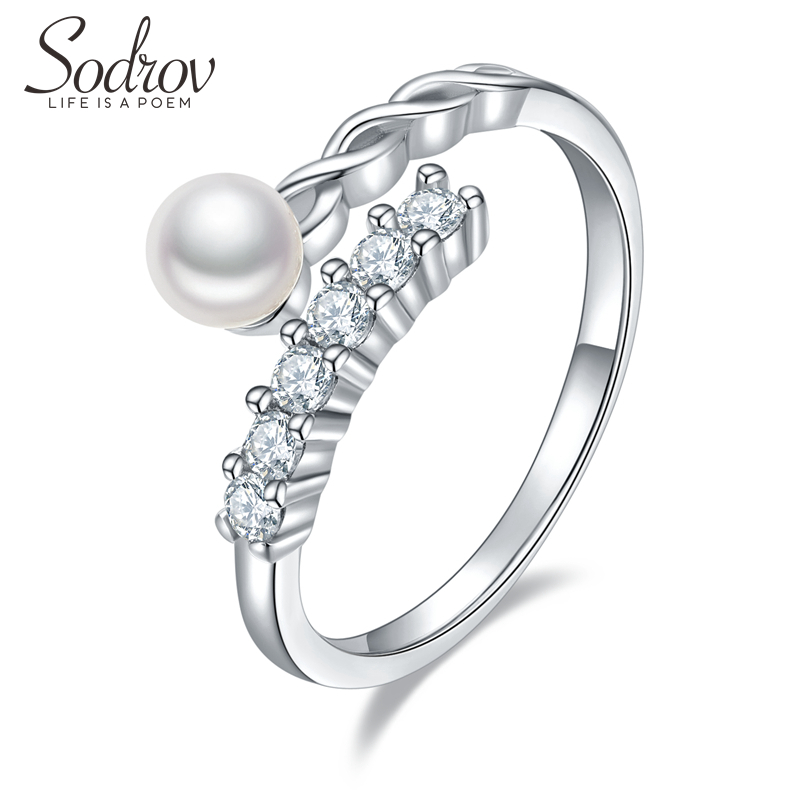 SODROV 925 Sterling Silver Pearls Ring Size Resizable Engagement Wedding Jewelry For Women 925 Silver Jewelry Silver Rings