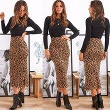 Vintage High Waist Midi Skirts Leopard Pattern Women Sexy Slim Women Skirt Casual Slip Style Fashion Leopard Skirts Womens