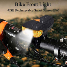 2019 New  Electric Front Light Bike Headlight with Tail Lamp USB Charging Waterproof Smart Induction Flashlight For Bicycle