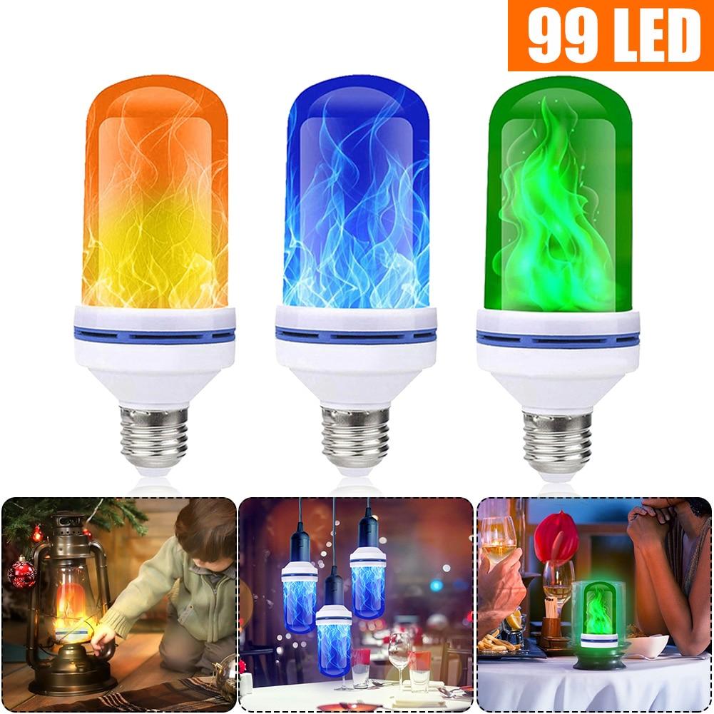 96/99/108LEDs E27 Flame Lamps 15W 85-265V 4 Modes Ampoule LED Flame Effect Light Bulb Flickering Emulation Fire Light Dropship