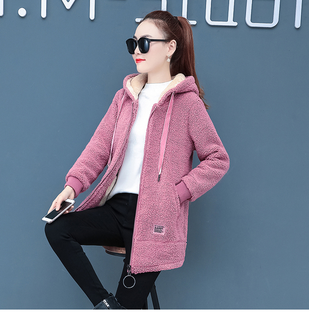 2019 Winter Faux Fur Teddy Coat Women Fashion hooded Add velvet to thicken zipper jacket fashionable and casual plus-size coat 3