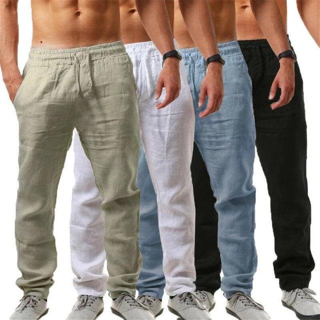 Men Casual Sports Trousers Breathable Cotton Linen Drawstring Straight Leg Pants Beach Pants XIN-Shipping 3