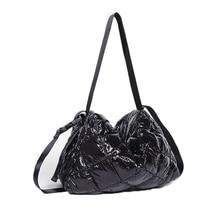 Women Cotton Feather Down Pillow Bag Fashion Crossbody Messenger Handbag Space Pad Winter Soft Space Cotton Shoulder Tote Bag