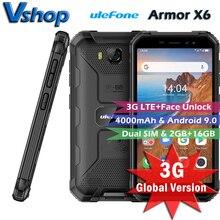 Ulefone armor x6 3g lte telefone móvel 2 gb + 16 gb ip68 mt6580 smartphone impermeável áspero android 9.0 celular quad core