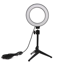 Adjustable Mini Tripod Stand Selfie Stick Ring LED Light Mount Holder Desktop Camera Accessories For for Youtube Live Makeup