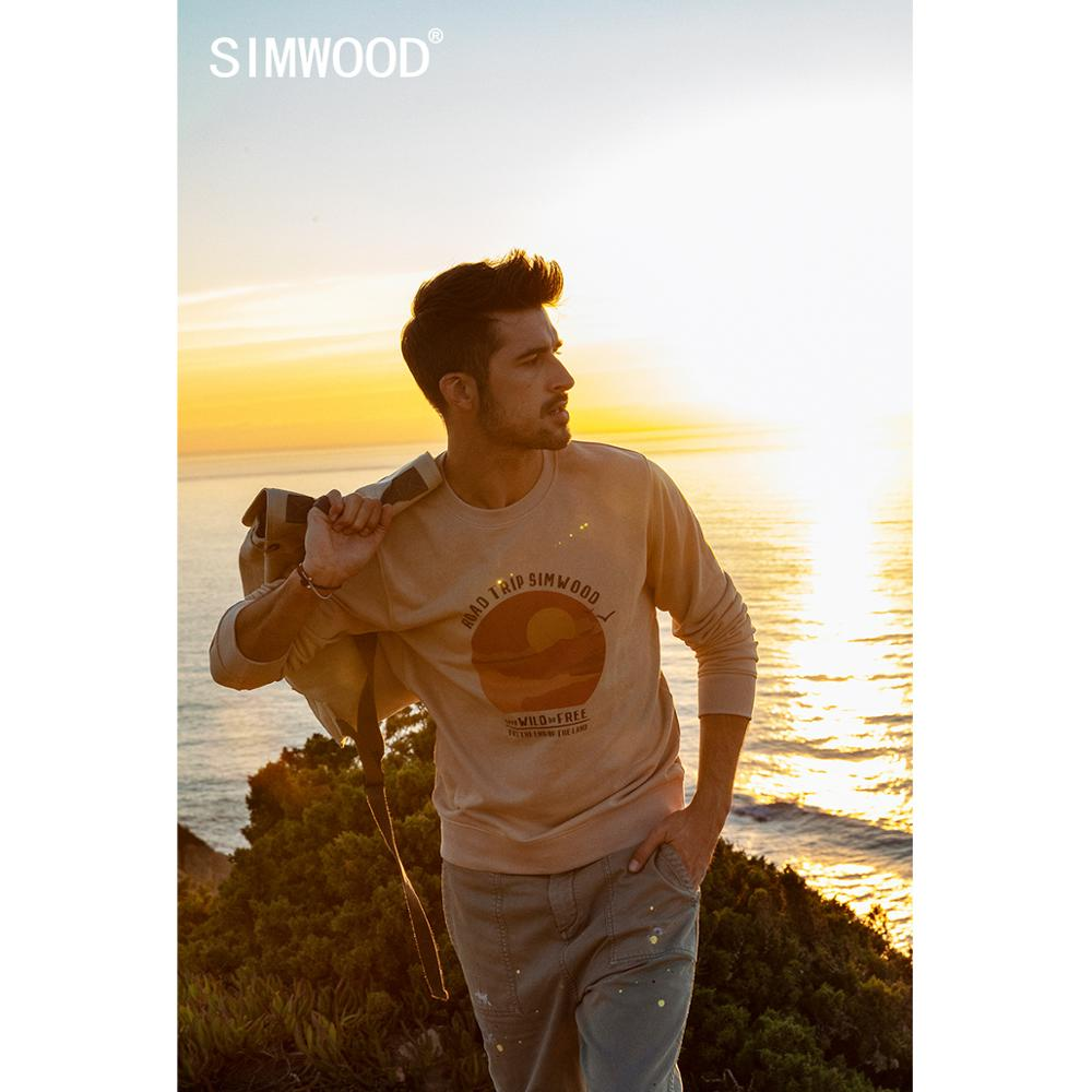 SIMWOOD 2020 spring new hoodies men sunset print O-neck hoodies plus size sweatshirt jogger tops brand clothing SJ170100