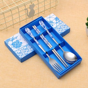 3PCS Tableware Set With Paper Storage Box Portable Multicolor Spoon Chopsticks Fork Set For Friends Gifts Stainless Steel