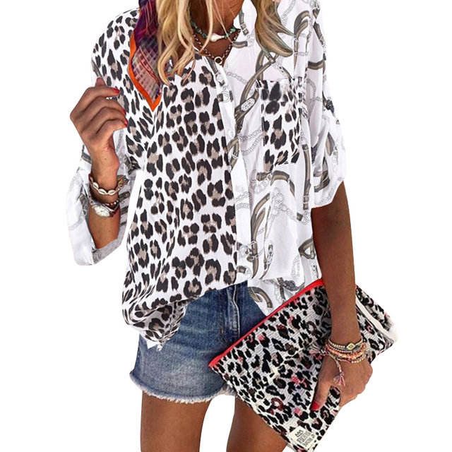 Women Blouse 2020 Sping  Tops  Turn-down Collar Long Sleeve Leopard Shirt Loose Plus Size Clothing For Women Ladies Blouses 3