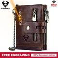 Бесплатная гравировка  100% натуральная воловья кожа  мужской кошелек  портмоне  маленький мини держатель для карт  винтажный портфель  мужск...