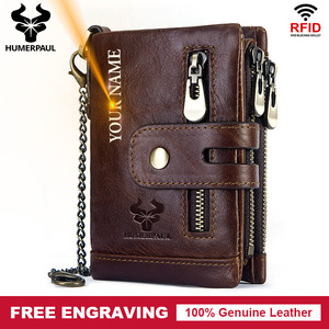 Free Engraving 100% Cowhide Genuine Leather Men Wallet Coin Purse Small Mini Card Holder Vintage PORTFOLIO Portomonee Hasp Male(China)