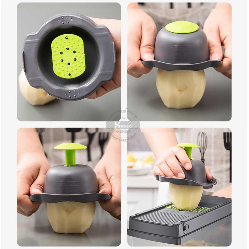 Konco Multi-funcional Ferramenta de Frutas Vegetais Amassador de Batata ricer Vegetal Mandoline slicer Peeler Cortador Cenoura Ralador Triturador