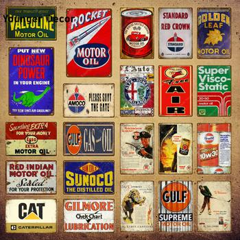 Motocykle samochodowe olej silnikowy metalowe plakietki emaliowane Gulf Gas olejny plakat na ścianę wystrój garażu Vintage Metal malarstwo YI-181 tanie i dobre opinie Younger Decor iron Europa Prostokąt