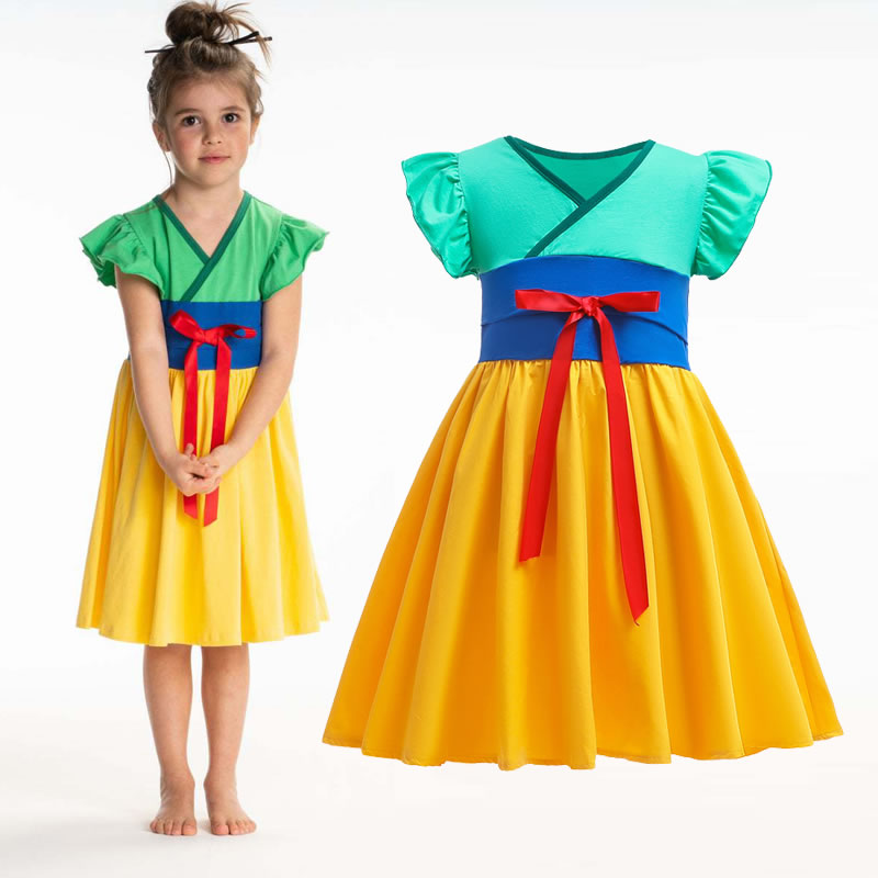 Summer Mulan Dress For Baby Girl Cosplay Costume 2020 Belle Snow White Mermaid Merida Elena Kid Twirl Party Frock Child Frock Aliexpress