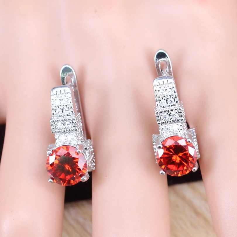 Conjuntos de Jóias Para As Mulheres de prata 925 Vermelho Cubic Zirconia Colar Pingente Anel Brincos Caixa de Jóias Pulseiras