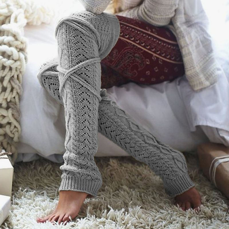 Womens Winter Braided Cable Knit Over Knee High Socks With Lace Up Tie Solid Color Footless Thicken Long Leg Warmer Stockings